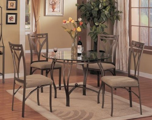 5 Pc Metal And Glass Dining Room Table Set In A Bronze Metal Finish Furnitu