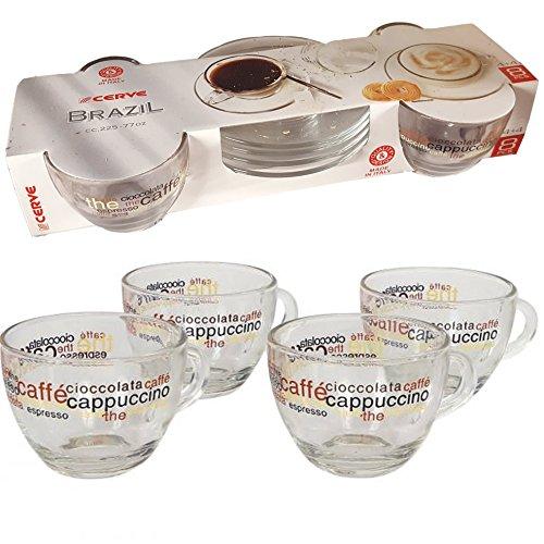 CERVE confezione 4 TAZZE 22,5cl CON 4 PIATTINI IN VETRO Caffè cappuccino cioccolata ristorante bar modello BRAZIL Made in Italy