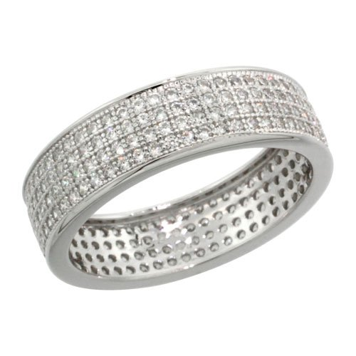 Sterling Silver Cubic Zirconia Micro Pave 4-Row Eternity Band Ring, Size 7