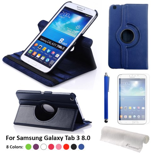 Foxnovo Pu Leather Case & Stylus Pen & Screen Guard & Cloth Set For Samsung Galaxy Note 8.0 N5100 / N5110 / N5120 T310 / T311 / T315 Samsung Galaxy Tab 3 10.1 P5200 / P5210 Samsung Galaxy Tab 3 8.0 T310 / T311 / T315 (Samsung Galaxy Tab 3 8.0 T310/T311/T3