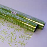 5m x 80cm SAGE LEAF Cellophane Roll - LIGHT APPLE GREEN on Clear Florist Flower Foliage Gift Hamper Film Wrap - 5 Metres