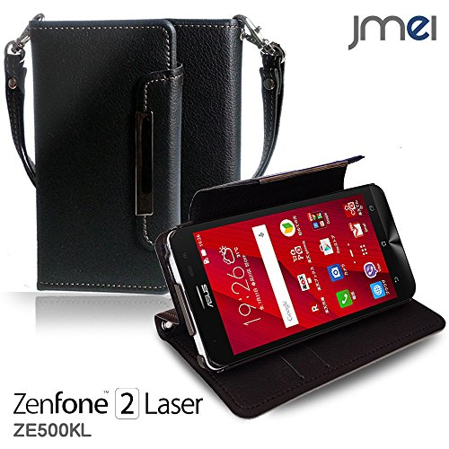 ZenFone2 Laser ZE500KL ケース jmeiオリジナルレザー手帳ケース Dandy ブラック(無地) 楽天モバイル simフリー ASUS エイスース ゼンフォン 2 レーザー スマホ カバー スマホケース 手帳型 スマートフォン
