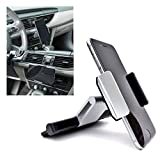 Mobile Phone CD Slot Car Mount Holder [Aluminum], Cradle Fit for iPhone 7 Plus, 7, 6 Plus, 6S, 6, 5S, 5C, 5, 4S, 4, Galaxy S6, S6 Edge, S5, S4, Note 2, Moto, HTC, Sony, 3.5 - 5.5 inchs (Silver)