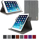 Apple iPad Mini 3 (2014) Case - roocase Orb System Folio 360 Dual View Leather Case Smart Cover with Sleep / Wake Feature for Apple iPad Mini 1 2 3 (2014) Canvas Gray - Patented Complete Lifestyle Solution