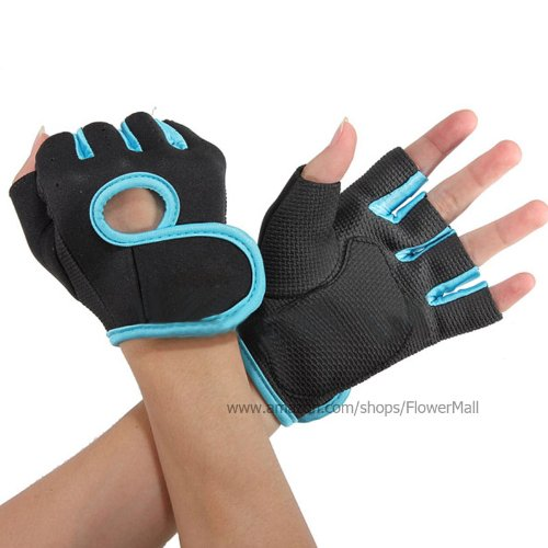 Hot GYM Weightlifting Exercise Half Finger Sport Cycling Fitness Gloves (Blue, S)