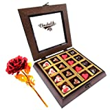 Sinful Assortment Heart Chocolates With 24k Red Gold Rose - Chocholik Belgium Chocolates