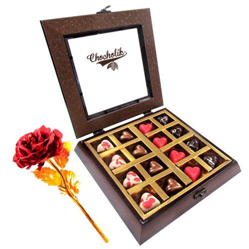 Sinful Assortment Heart Chocolates With 24k Red Gold Rose - Chocholik Belgium Chocolates