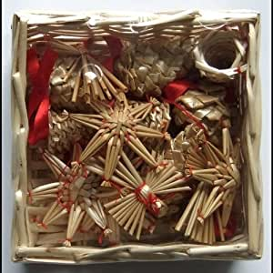 Christmas Straw Ornaments Set Of 16 Pieces