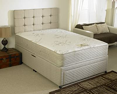Happy Beds Stress Free Divan Bed Set Memory Foam Pocket Sprung Mattress End Jumbo Drawer No Headboard
