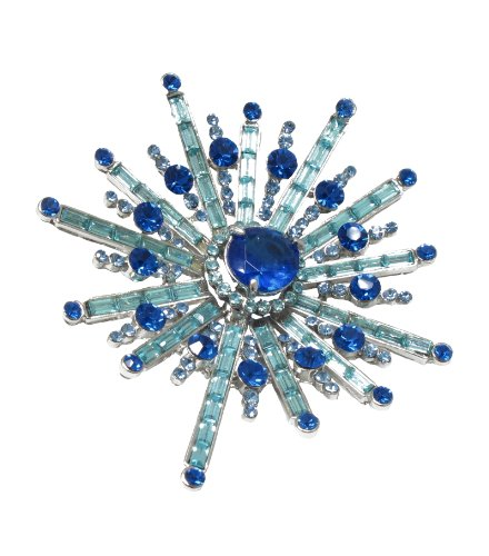 Sapphire Blue Color Tone on Tone Cubic Zirconia & Czech Crystals Sun Ray Brooch -Width & Length both 7cm, Total 157 pcs.