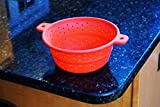 Collapsible Strainer and Colander - 100% Premium Food Grade Silicone - Best for Pasta, Fruit and Vegetables - Foldable 7 1/2 Inch Wide Medium Size Space Saver