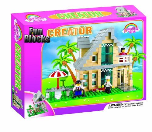 cheap fun blocks compatible with lego city diorama d beach house 466 pieces best buy. Black Bedroom Furniture Sets. Home Design Ideas