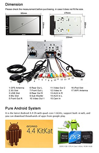 Pumpkin Quad Core 7 inch 2 DIN Universal Android 4.4 Car ...