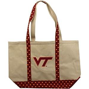 NCAA Virginia Tech Hokies Ladies Medium Canvas Tote Bag - Natural/Maroon