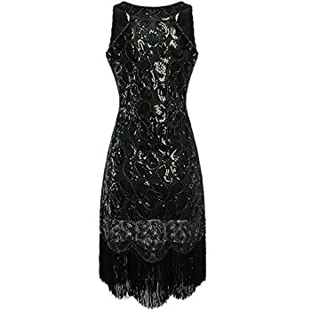 Vijiv Women's 1920s Gastby Sequined Embellished Fringed Paisley Flapper Dress