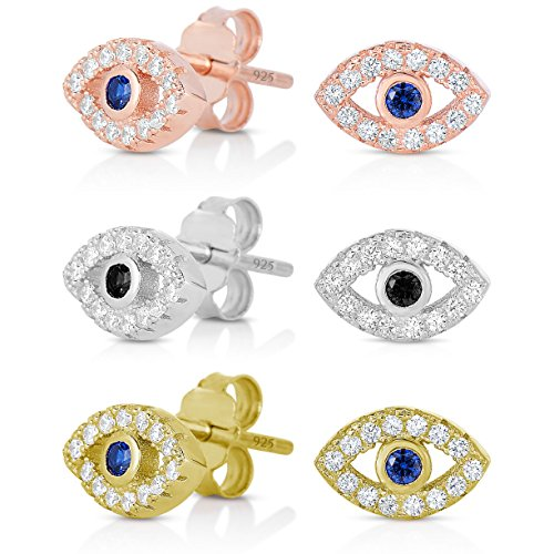 925 Sterling Silver Simulated Diamond Cubic Zirconia (CZ) Mini Evil Eye Earrings In Rhodium, RoseGold or 14K Gold Plated