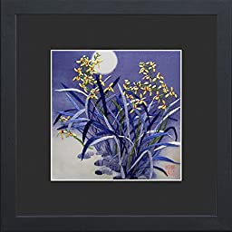King Silk Art 100% Handmade Embroidery Framed Yellow Orchids Shining Under The Blue Moon Oriental Wall Hanging Art Asian Decoration Tapestry Artwork Picture Gifts 36014BFB1