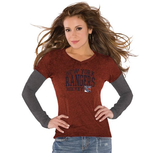 NHL Touch by Alyssa Milano New York Rangers Ladies Red Double Layered Premium Tri-Blend V-Neck T-Shirt (Medium) at Amazon.com