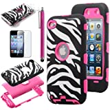 Pandamimi ULAK(TM) Zebra Design Combo Rose Pink Hard PC and Soft Silicon Case Cover Skin Gel for Apple iPod Touch Generation 4 with Screen Protector and Stylus