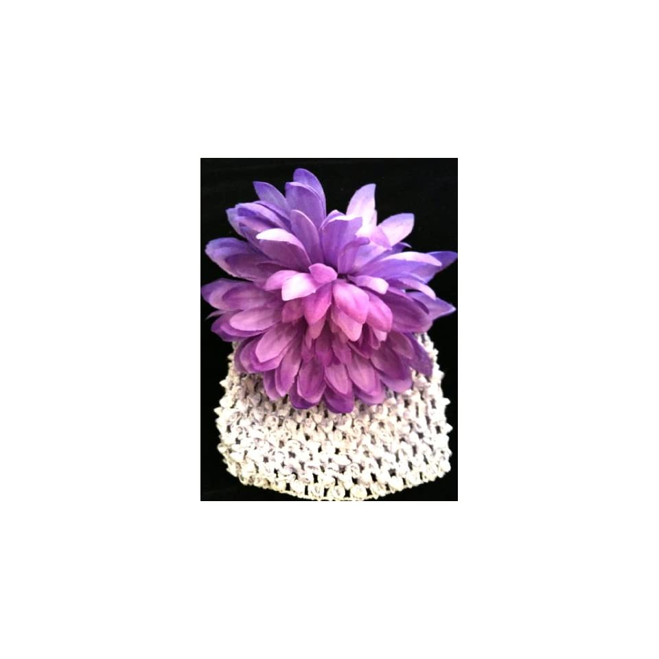 Tanday Lavender/Orchid Crochet Elastic Baby Girls & Toddler Flower Beanie & Hat Mum.