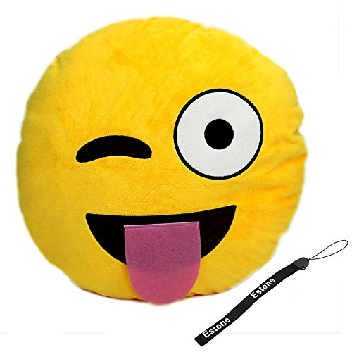 Best Buy! Estone® Soft Emoji Smiley Emoticon Yellow Round Cushion Pillow Stuffed Plush Toy Doll (Na...