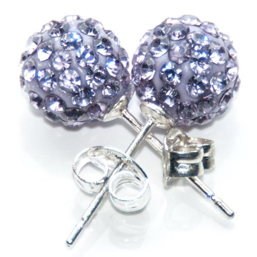 Busy Bead Pair of Shamballa Stud Earrings With Violet Crystal Rhinestone Clay Disco Ball 10mm
