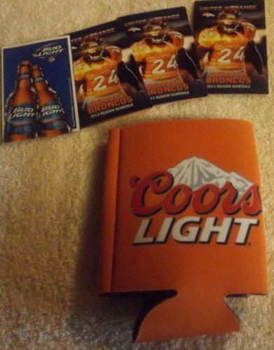 Denver Broncos Coors Light Denver Football Orange Koozie-(4) Denver Broncos 2013 Season Schedule Champ Bailey on Front at Amazon.com