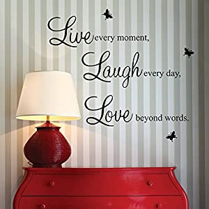 """Live every moment,Laugh every day, Love beyond words."" with 2x butterfly wall quote art sticker decal for home bedroom decor corp office wall saying mural wallpaper birthday gift for boys and girls"