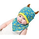 BabyPrice Baby Knitted Hat Cotton Cap With Cute Elk Ear And Baby Triangle Drool Bid Set (Blue)