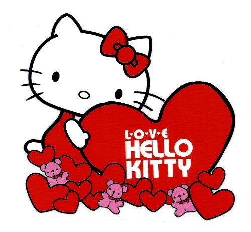Hello Kitty holding red heart  pink teddy bear