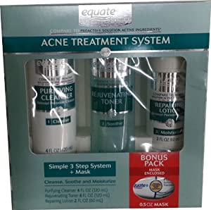 Give your face the tender loving care it deserves with the Equate Acne Treatment System. This package contains components of a three-stage regimen that cleanses, soothes and moisturizes. This skin acne treatment comes with a purifying cleanser, a rejuvenating toner, a repairing lotion and a cleansing mask.