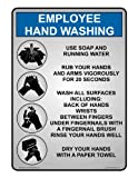 ComplianceSigns Plastic Employee Wash Hands Sign, 10 x 7 in. with English Text, Gray
