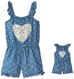 Dollie & Me Little Girls\' Chambray Romper, Blue, 6