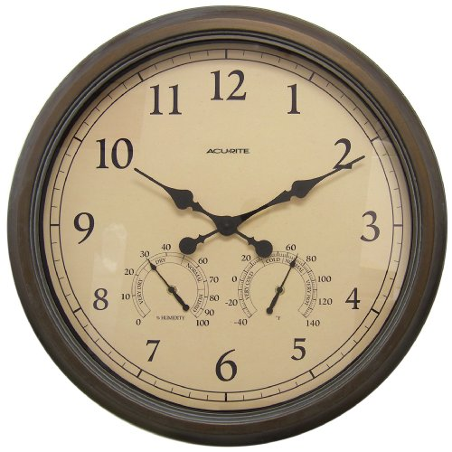Chaney Instruments Acu-Rite 01061 24-inch Patina Combination Wall Clock, Thermometer and Hygrometer
