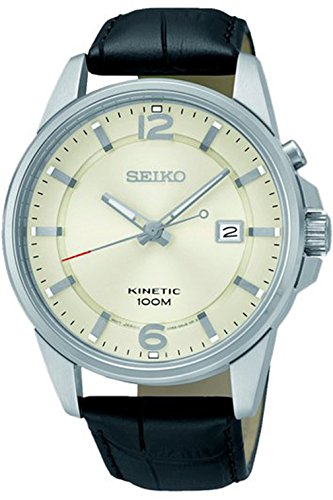 Seiko Ska667P1 Men'S Kinetic Stainless Steel Case & Leather Strap 100M Wr Ska667
