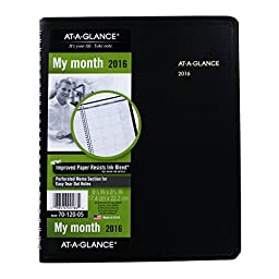 AT-A-GLANCE Monthly Planner 2016, Wirebound, 6.88 x 8.75 Inch Page Size , Black (70-120-05)