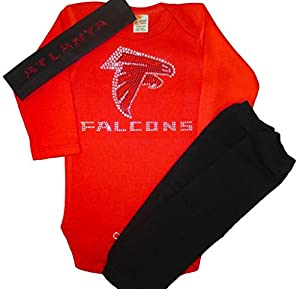 FanGarb Atlanta Falcons Crystal Red bodysuit, leg warmers and headband -12-18mo