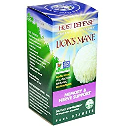 Host Defense® Lion\'s Mane Capsules, Memory & Nerve Support, 60 count