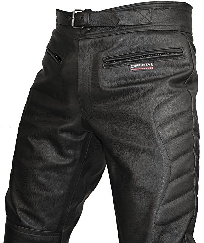 CE Armoured Mens Leather Motorcycle Trousers By Skintan (Short L29 W34)