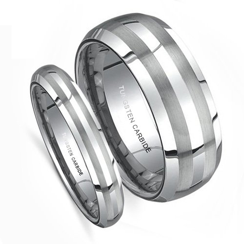 Top Value Jewelry - Matching Wedding Band Set, His & Her Tungsten Rings, Titanium Color, Double Brush Lines, Men 8MM (size 8-14), Women 5MM (size 5-8) - Half Sizes Available