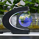 Easywin High Tech C Shape Base Floating Globe Magnetic Field Levitation With LED Light Lamp Tellurion Home Desktop Decor Perfect Gift for Any Home or Office-Blue