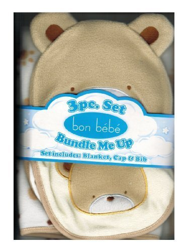 Bon Be'Be' - Bunndle Me Up - 3 Pc Bear Blanket, Cap & Bib Set - 1