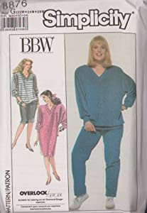 Women's Easy-To-Sew Pullover Dress Or Top And Pull-On Pants And Skirt Simplicity Sewing pattern 8876 (Size G: 22W-24W-26W)
