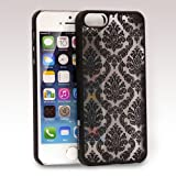 GreatShield TACT Series Design Pattern Rubber Coating Ultra Slim Fit Hard Case Cover for Apple iPhone 5 / 5S (Damask - Black)