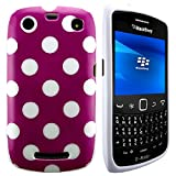 CellBig Gorgeous Purple Polka Gel Case Cover Pouch Mask Wallet Pocket Holster For Your CellBig Blackberry Curve 9360