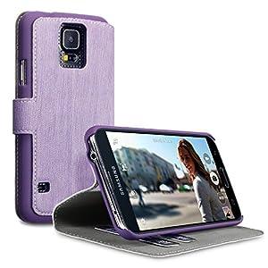 Terrapin Leder Tasche Case Hülle im Bookstyle mit Standfunktion Kartenfächer für Samsung Galaxy S5 (Lila)
