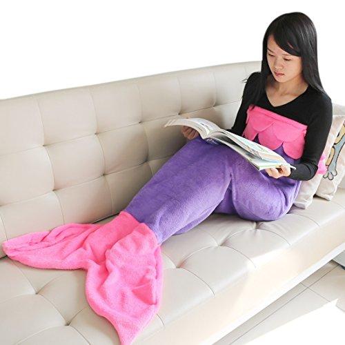Tiaobug Fleecedecke Wohndecke Lounge-Decke schlafdecke Kuscheldecke Tagesdecke Mädchen Kinder Meerjungfrau Kostüm Schwanz Flosse Decke- Ideale Geschenk für Mädchen thumbnail