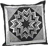 Shahenaz Home Shop Kyrah Surface Saga Poly Dupion Cushion Cover - Black and Grey