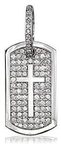 Diamond Dog Tag Pendant with Cross Symbol, 3.20CT, #3950 in 14K yellow gold
