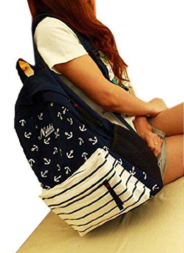 Anchors Shoulders Backpack Rucksack Teenage Girl Lady Student School Campus Bag Satchel Female Girlfriend Birthday Gift